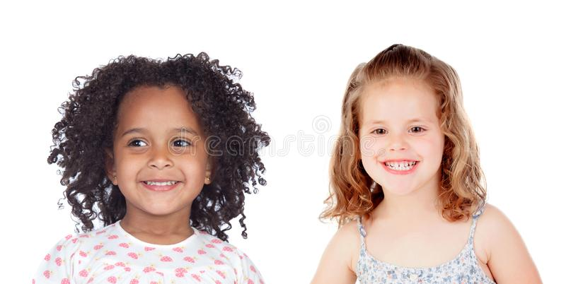 Two funny children laughing stock images