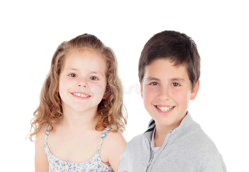 Two funny children looking at camera stock images