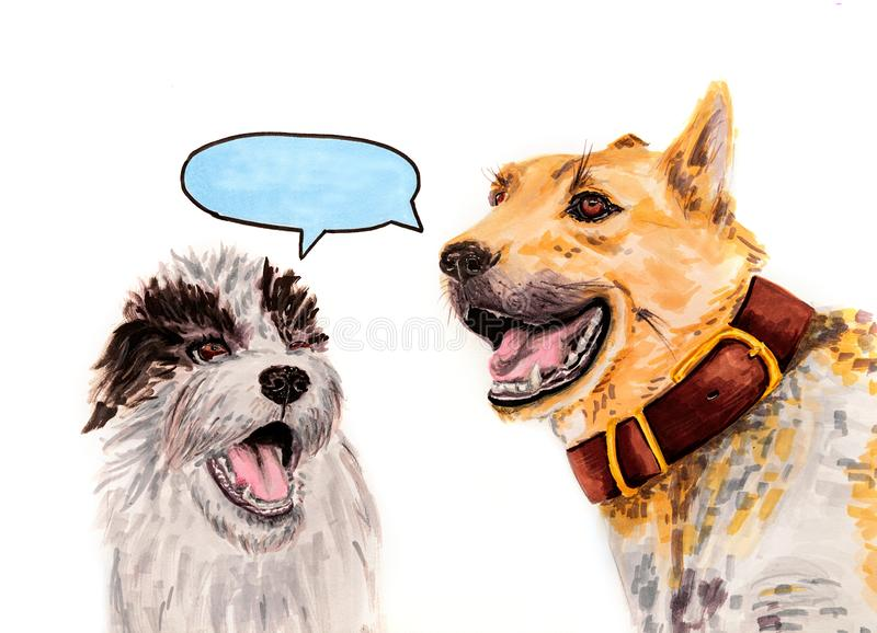 Two funny dogs with opened mouth isolated on white with a bulb for speech han drawn illustration stock illustration