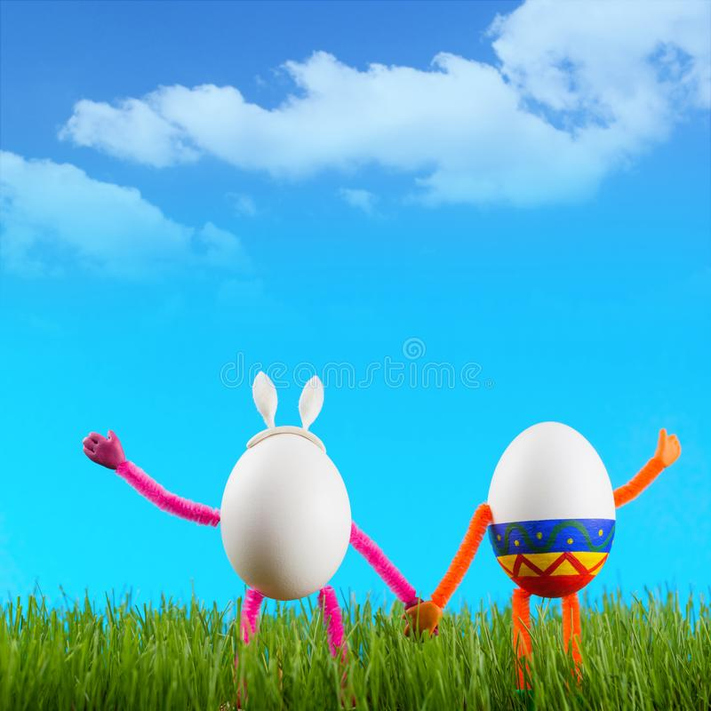 Two funny Easter eggs stock image