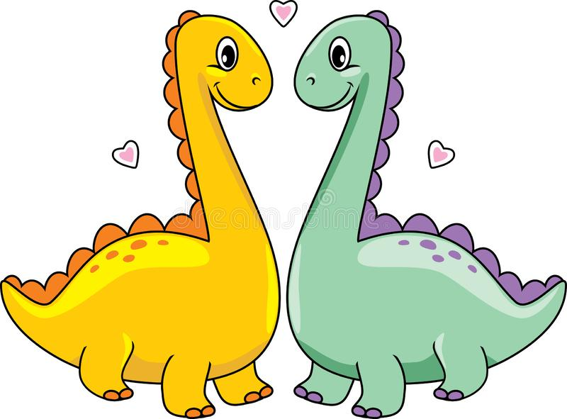 Two funny enamored dinos royalty free stock images