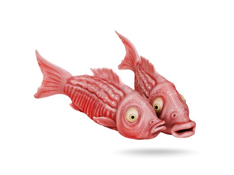 Two funny fish comic cartoon 3D image stock illustration