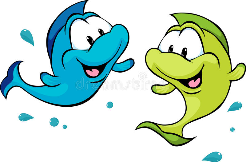 Two funny fish isolated on white background - vector vector illustration