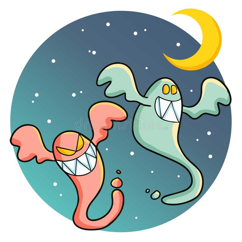 Two funny ghost under the moon light. royalty free stock photography