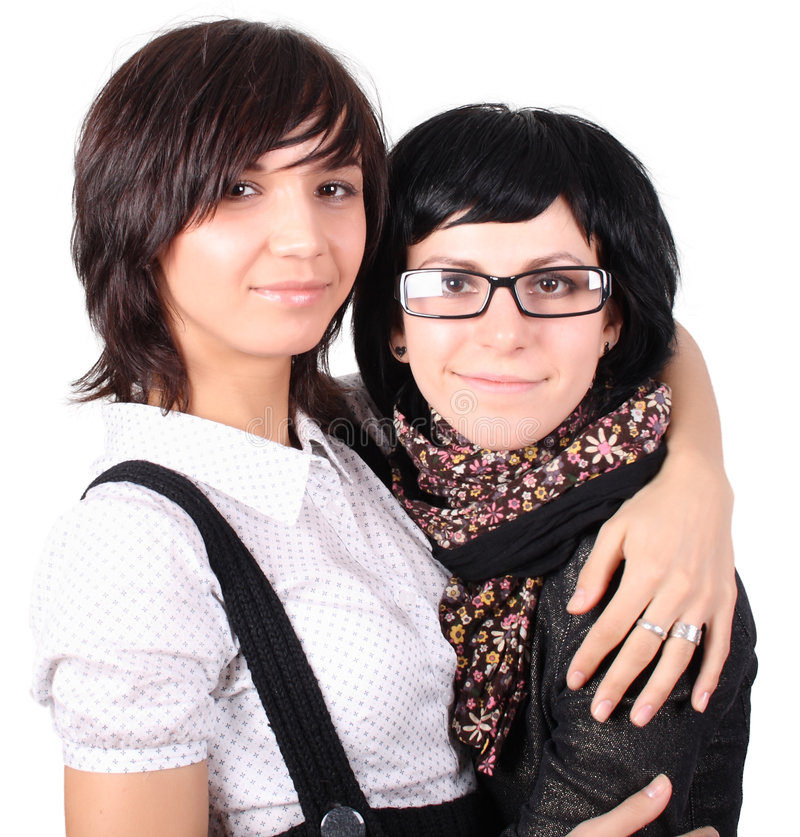 Two funny girls stock photos