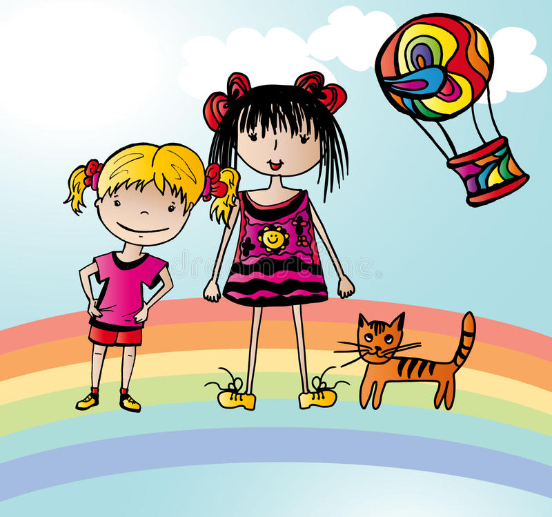 Two Funny Girls On Rainbow Stock Photos
