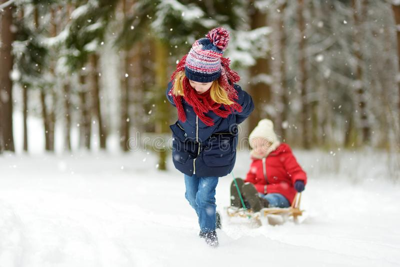Two funny little girls having fun with a sleigh in beautiful winter park. Cute children playing in a snow. Winter activities for kids royalty free stock photography