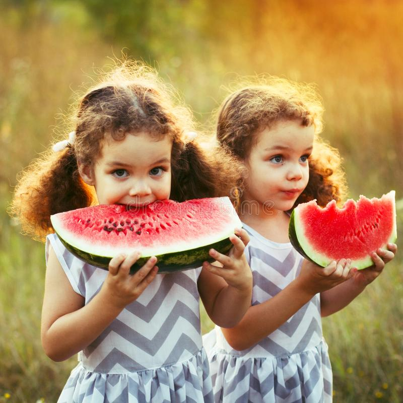 Two funny little sisters eating watermelon outdoors on warm and sunny summer day. Healthy organic food for little kids. Twins girl royalty free stock photography
