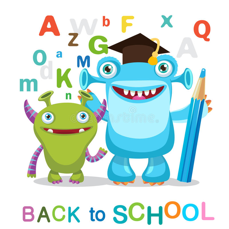 Two Funny Monsters And Text Back To School On A White Background. Cartoon Monsters Mascot. royalty free stock photography