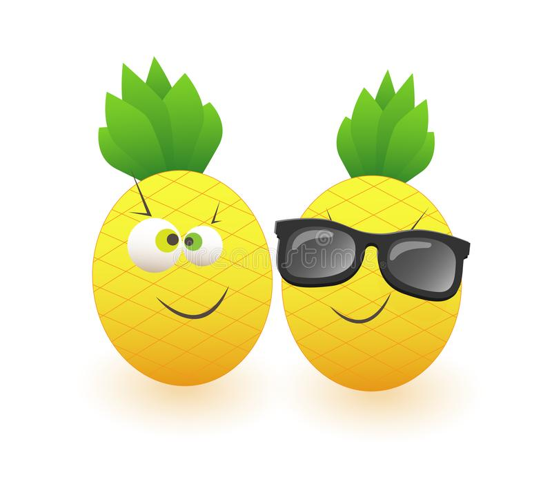 Two funny pineapples celebrate summer isolated on white background royalty free illustration