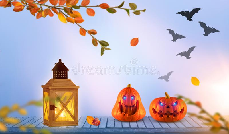 Two funny scary orange halloween pumpkins with glowing eyes onh wood with lantern with bats in the background vector illustration