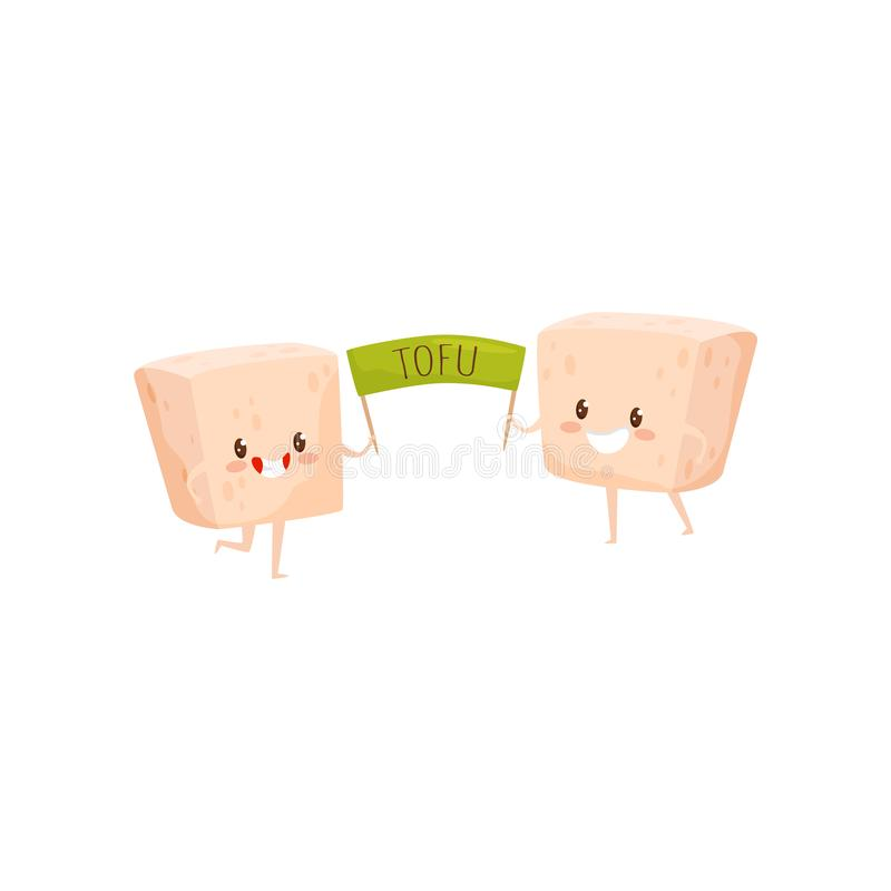 Two funny tofu characters holding green poster. Soy bean curd. Happy emotion. Healthy food. Flat vector design stock illustration