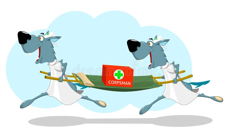 Two funny wolf nurses running with a stretcher. Vector illustration stock illustration