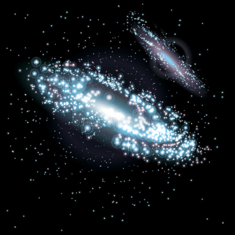 Two Galaxies. At black starry background. Vector Illustration royalty free illustration