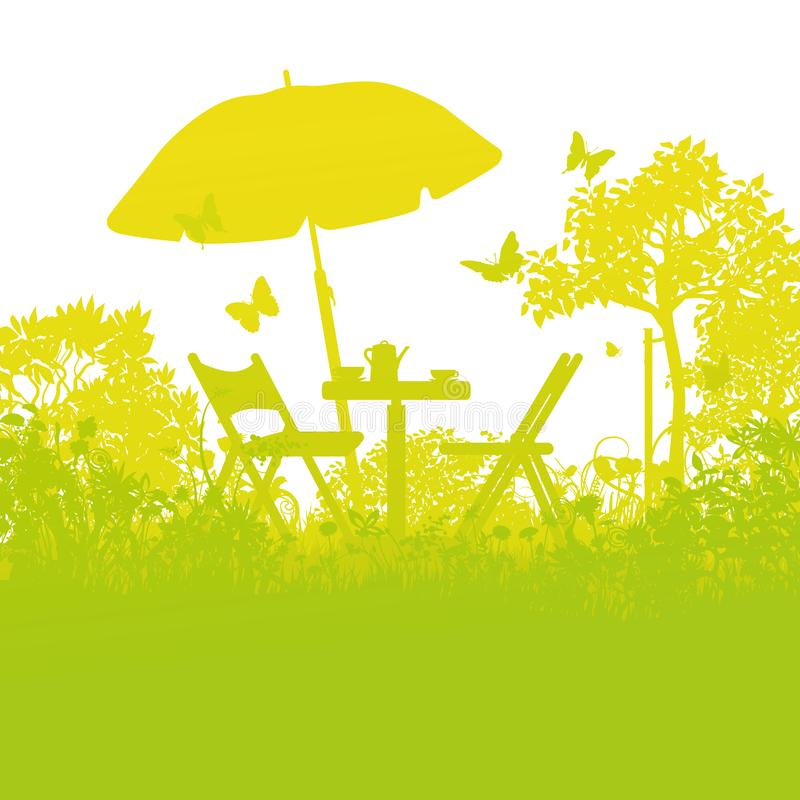 Two garden chairs with umbrella in the orchard stock illustration
