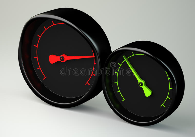 Two gauges stock illustration