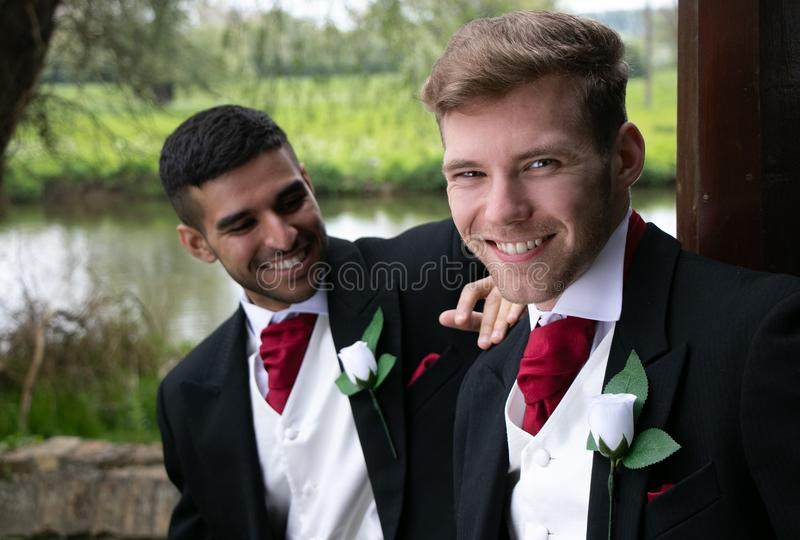 Gay couple of grooms pose for photographs by a lake on their wedding day royalty free stock images