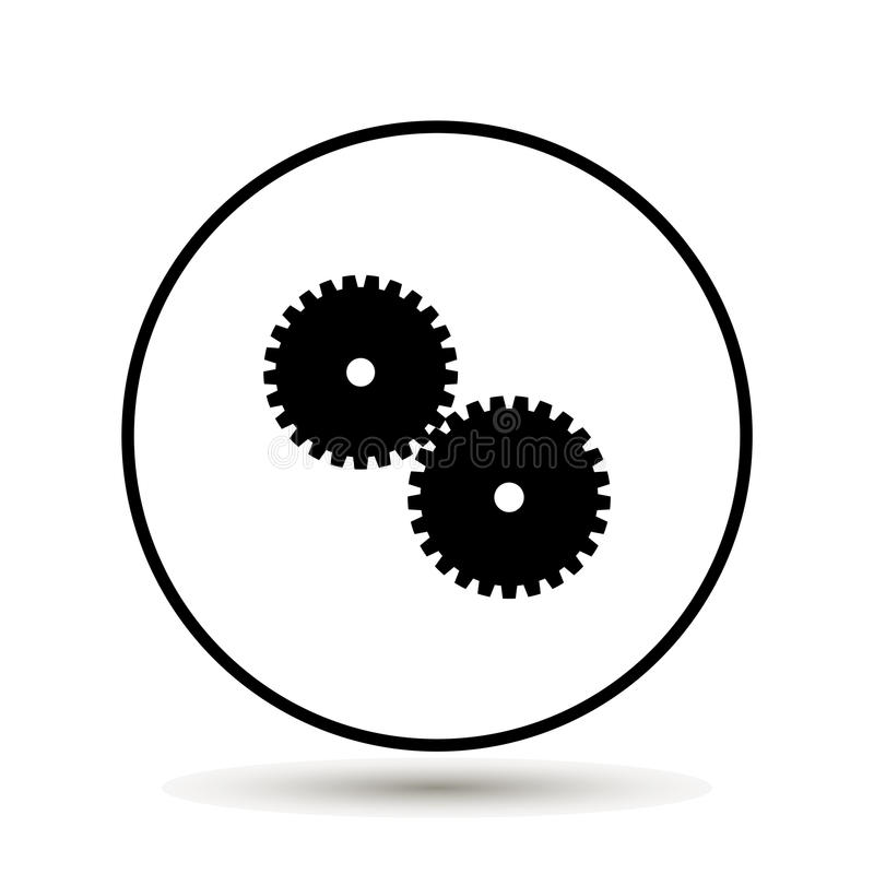 two gear Icon, flat design style royalty free illustration