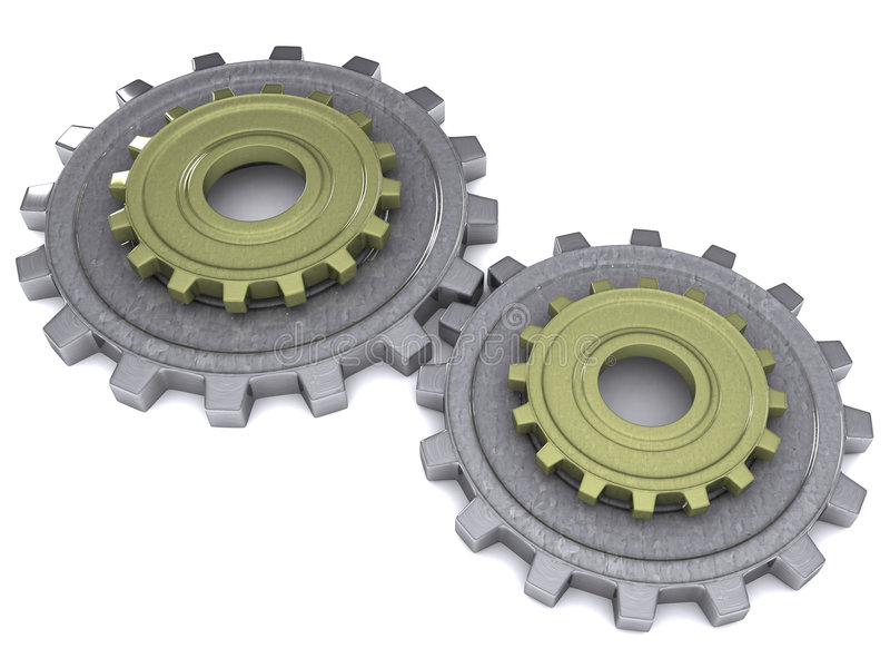 Download Two gears stock illustration. Image of shiny, machinery - 1606398