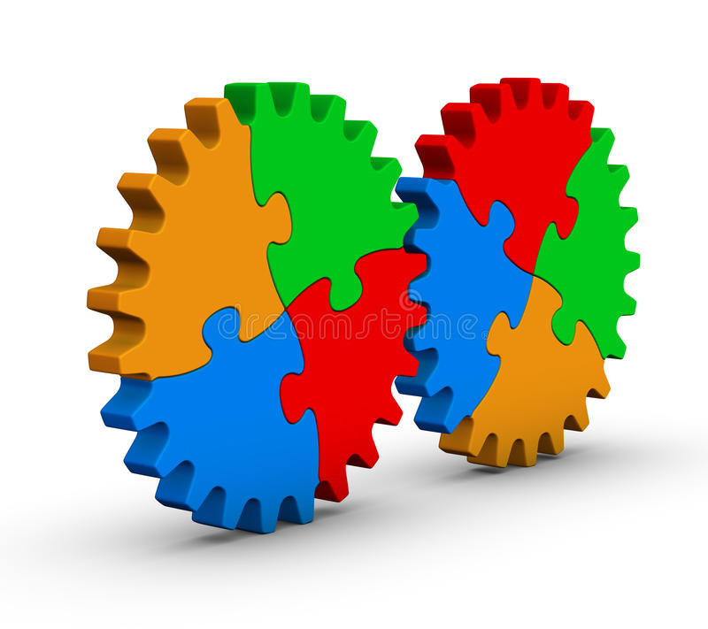 Download Two Gears Of Colorful Jigsaw Puzzles Stock Illustration - Image: 21716130