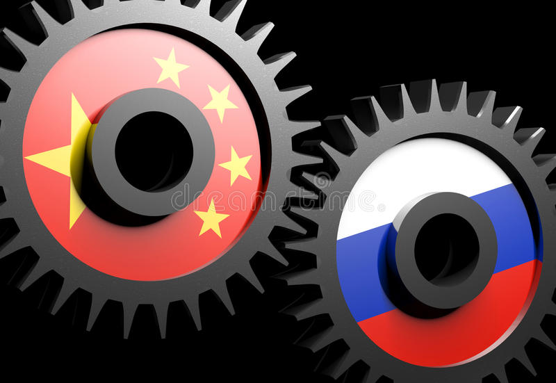 Download Two Gears With The Flags Of China And Russia Stock Illustration - Illustration: 26943988