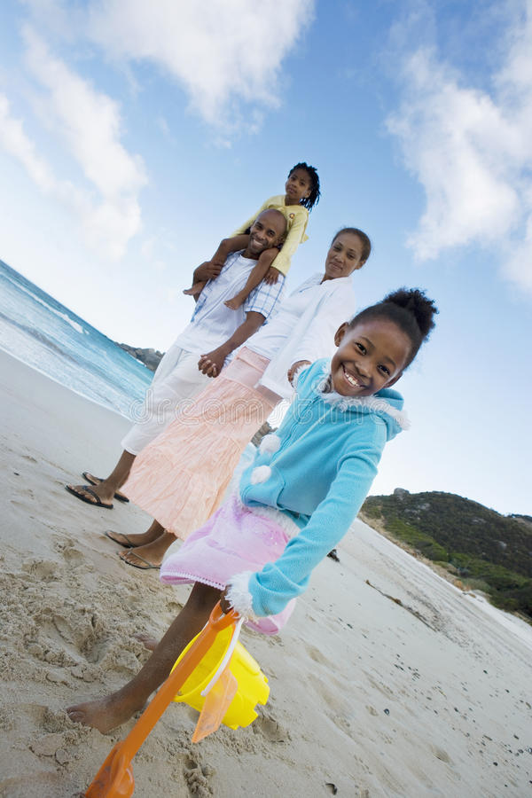 Two generation family standing on beach, holding hands, smiling, side view, portrait (tilt) stock photo