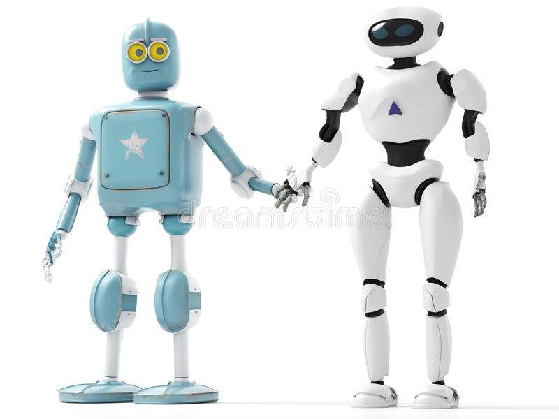 two generations of robots holding hands with an on-white background stock illustration