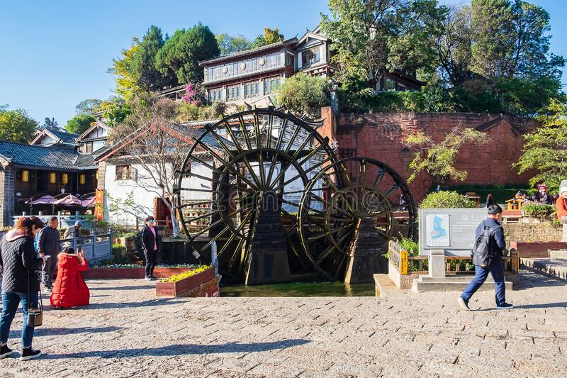 The two Giant Water Wheels at Lijiang Old Town, is the most ancient irrigation tool in China. landmark and popular spot for royalty free stock images