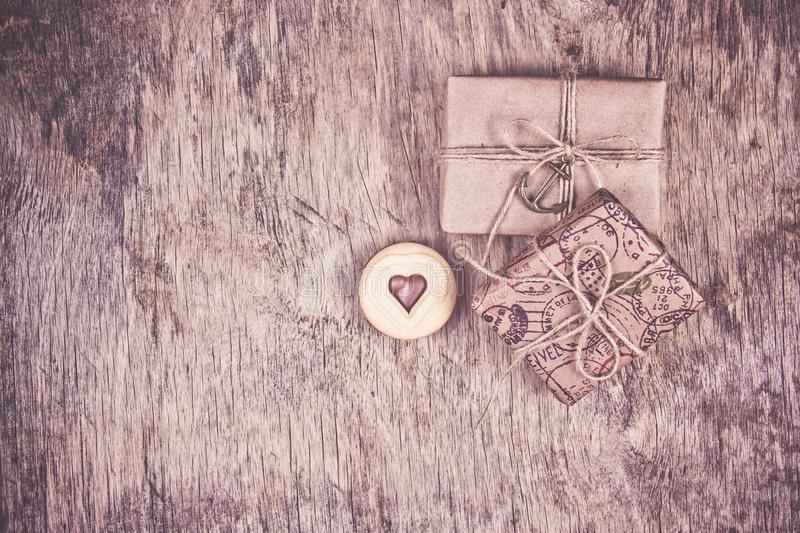 Two gift boxes and a heart cookie. Romantic concept. Cookies of valentine. Copy space royalty free stock images