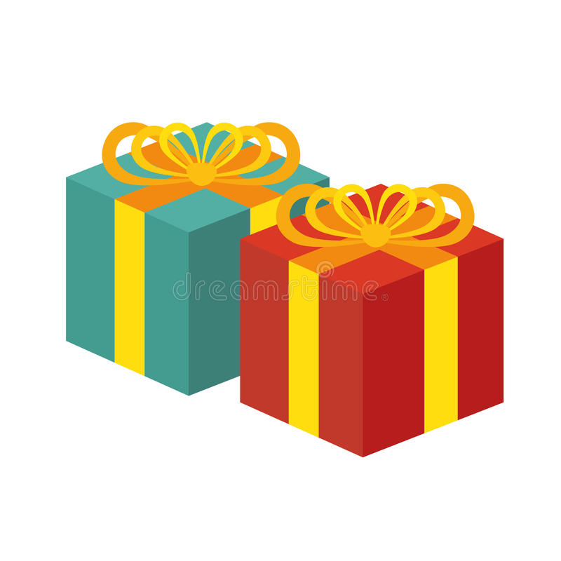 Two gift boxes red and green white background. Vector illustration eps 10 royalty free illustration