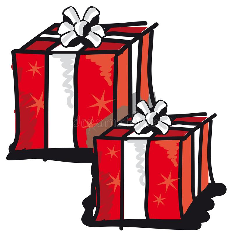 Two gift packages with bow and stars stock image