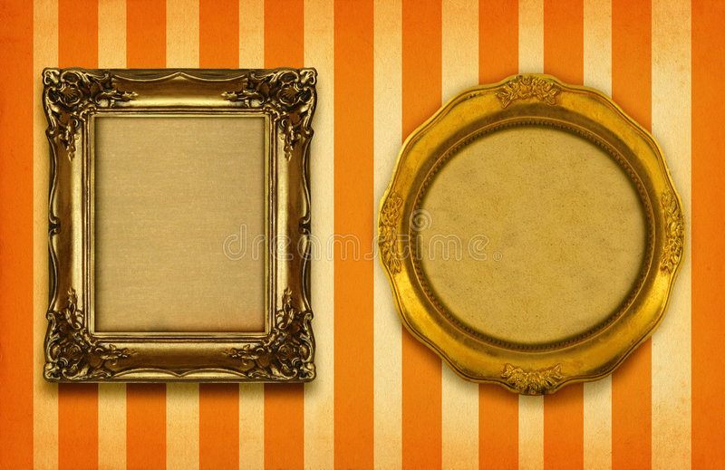 Two gilded frames. On striped background stock photos