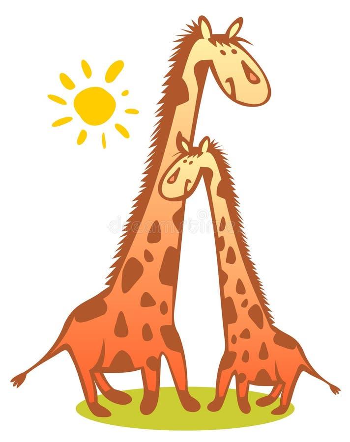 Two giraffes stock illustration