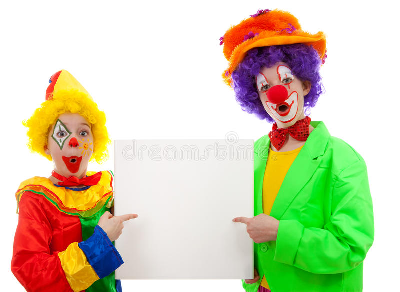 Download Two Girl Clowns Holding Empty Text Board Stock Image - Image: 18553151