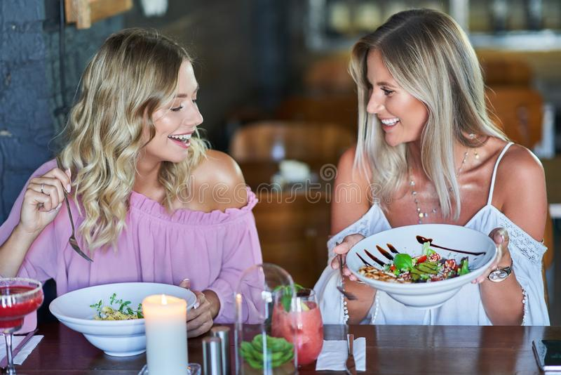 Two girl friends eating lunch in restaurant. Picture of two girl friends eating lunch in restaurant royalty free stock image