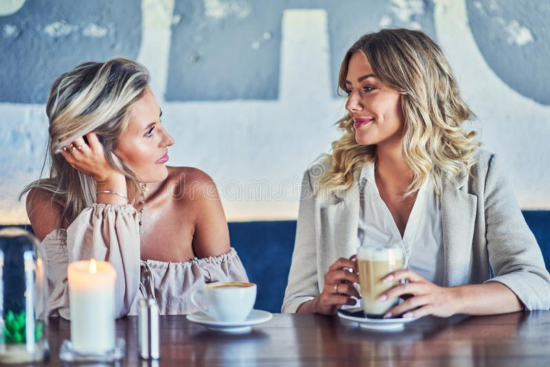 Two girl friends eating lunch in restaurant. Picture of two girl friends eating lunch in restaurant royalty free stock photography