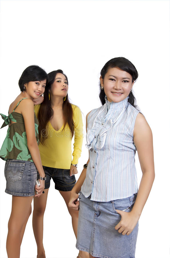 Download Two Girl Gossiping Behind Another Girl Back Stock Image - Image: 11852979
