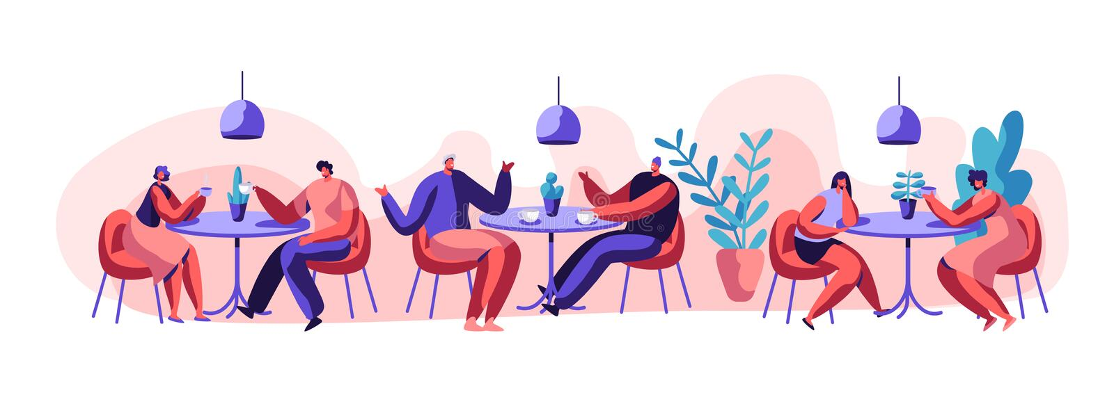 Two Girl or Pair of Female Friend Sit at Table Drink Coffee or Tea Talk Gossip. Business Woman Girlfriend Meeting. Two Girl or Pair of Female Friend Sit at Table stock illustration