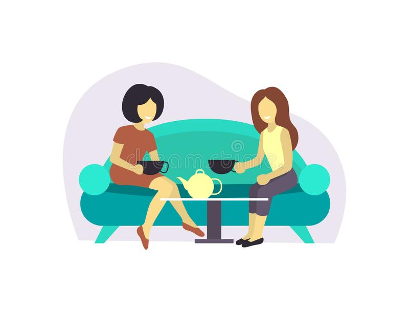 Two Girl or Pair of Female Friend Sit at Table Drink Coffee or Tea Talk Gossip. Business Woman Girlfriend Friendly royalty free illustration