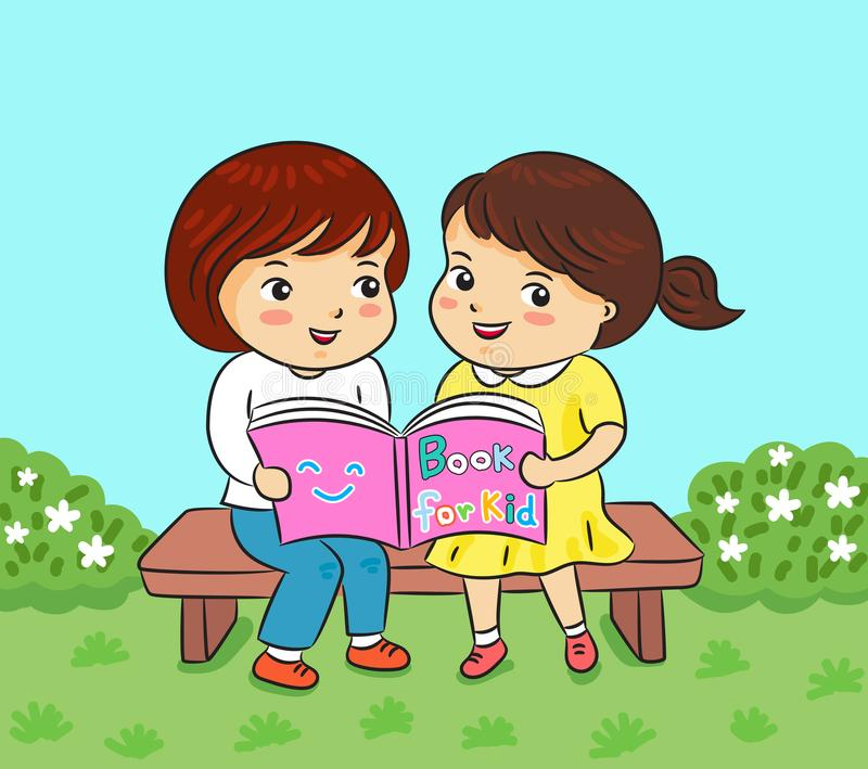 Two girl reading book in park vector illustration royalty free illustration