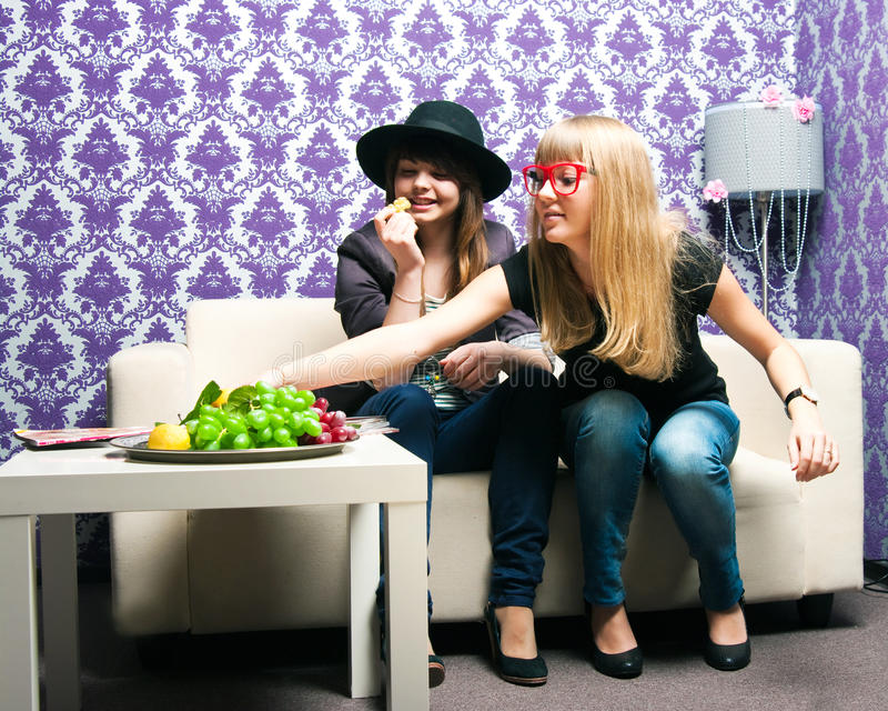 Two girlfriends royalty free stock photography