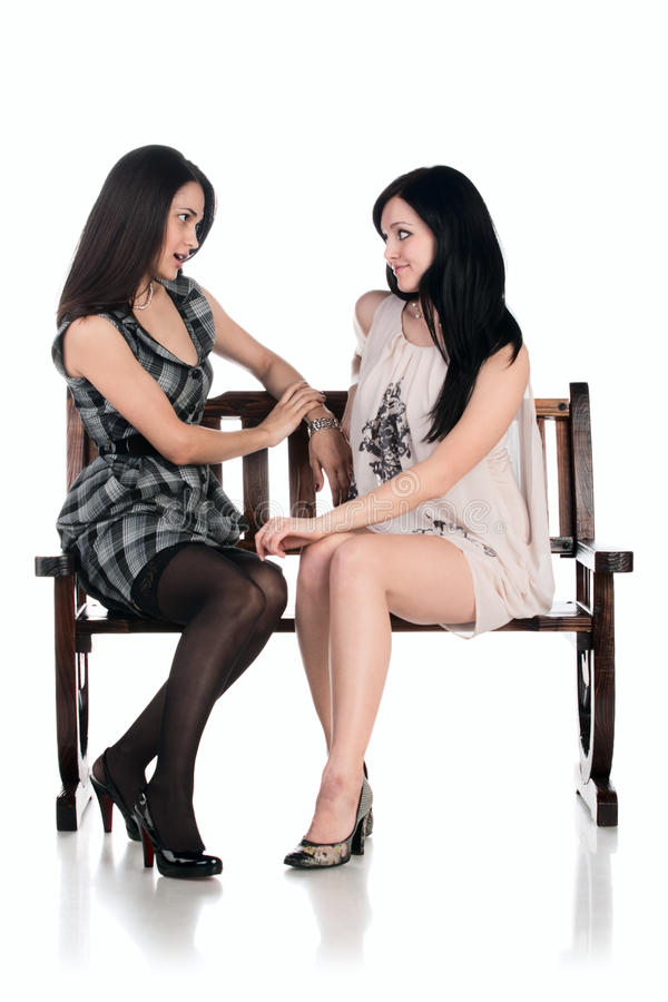 Free Two Girls At The Bench Royalty Free Stock Images - 12813469