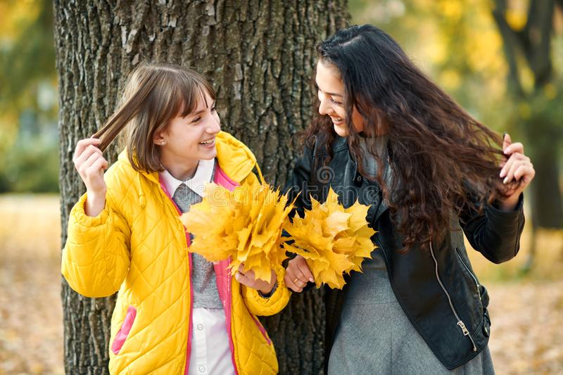 Two girls are in autumn city park. They stand near tree and show hair stock photos
