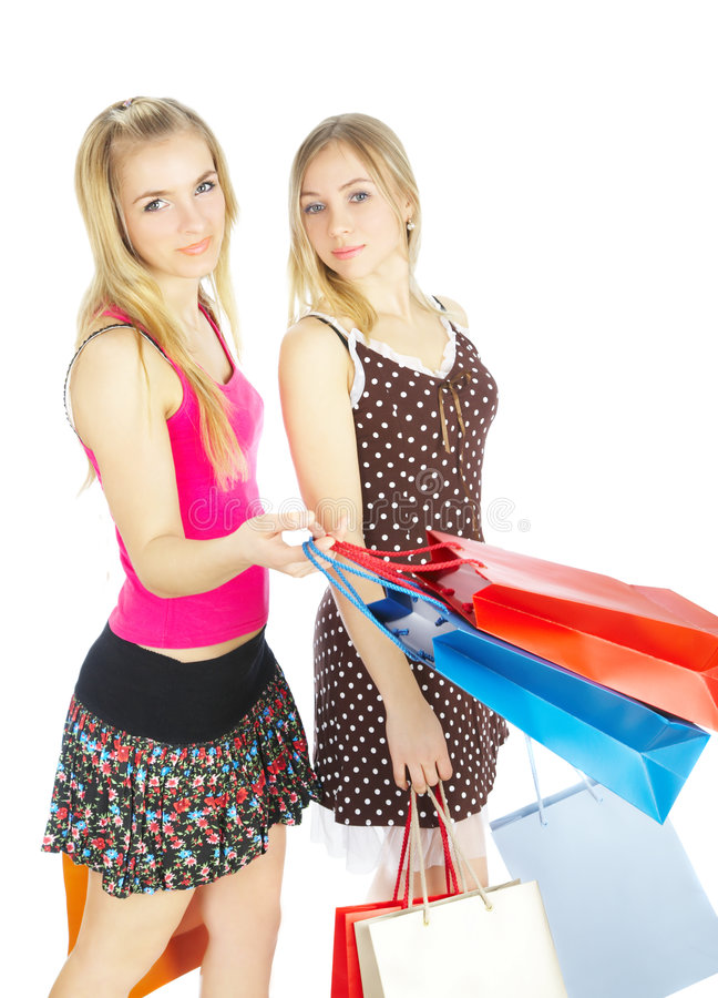 Download Two Girls With Bags - Comparison Shopping. Sale! Stock Photo - Image: 4606454