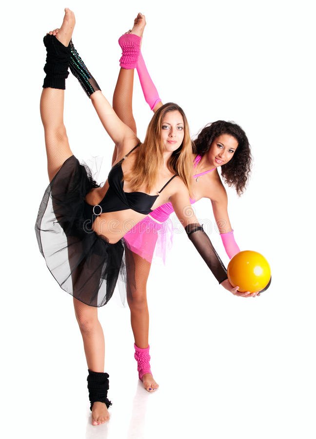 Two girls ballet dancers stretching royalty free stock image