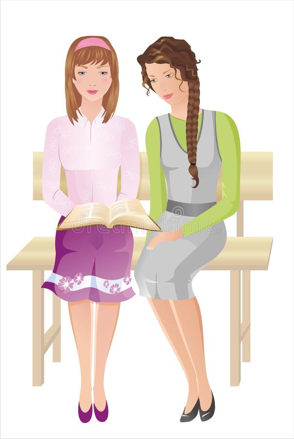 Download Two girls with Bible stock vector. Image of female, religious - 16044862