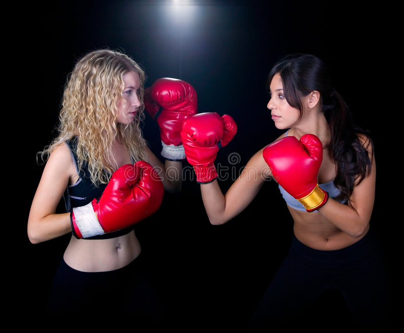 Two Girls In A Boxing Match Stock Photography