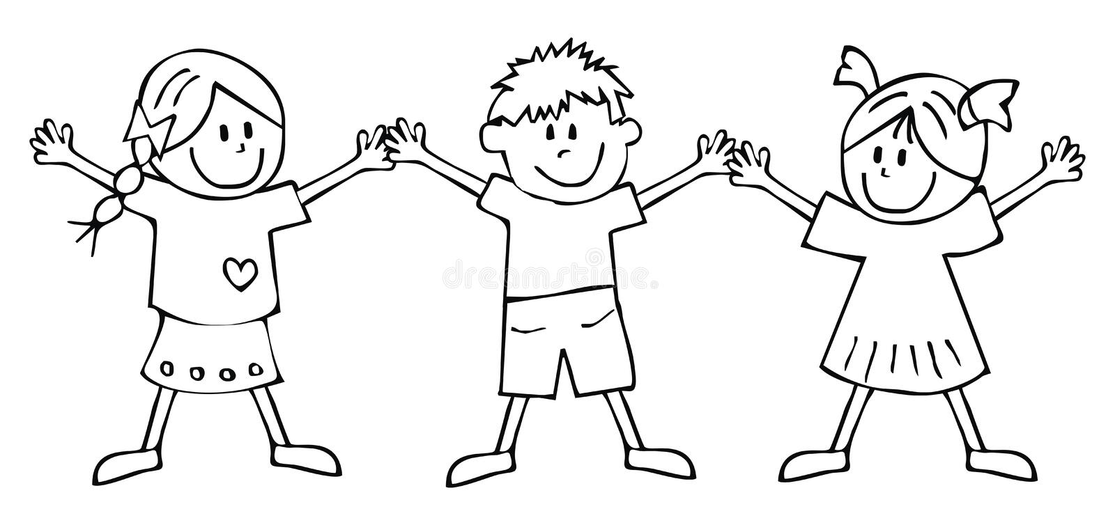Two girls and boy, coloring book, vector icon royalty free illustration