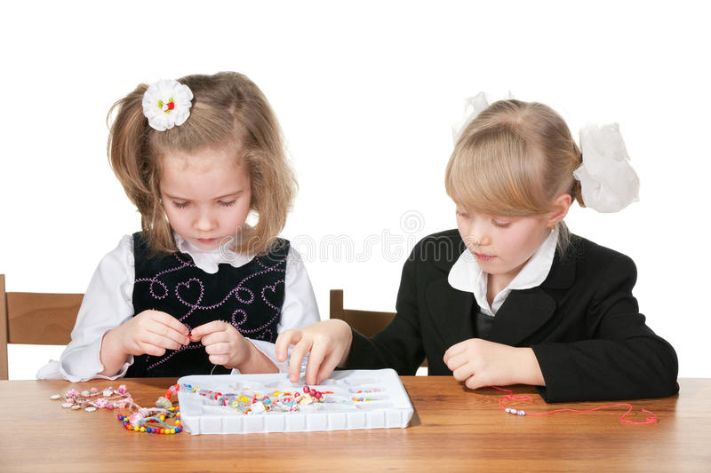 Download Two Girls Busy With Handicraft Stock Photo - Image: 18397462