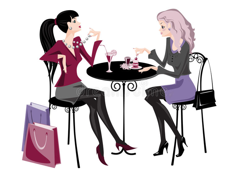 Download Two girls in cafe stock vector. Image of gray, laying - 19109742